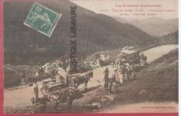 09 - COL DE PORT--Touristes Passant Le Col--Vue Vers Saurat---attelages---animé - Frankreich