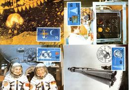 """DDR 4 Halbamtl. Maximumkarten Mi-Nr. 3005/08 ESSt. BERLIN  25.3.86 """"25 Jahre Bemannter Weltraumflug"""""""