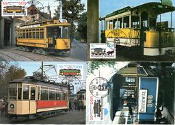 "DDR 4 Halbamtl. Maximumkarten Mi-Nr. 3015/18 ESSt. BERLIN  20.5.86 ""Technische Denkmale - Historische Straßenbahnen"""