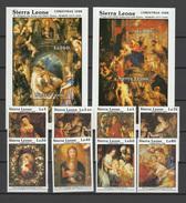 Sierra Leone 1988 Paintings Rubens, Christmas Set Of 8 + 2 S/s MNH