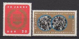 DDR / 20 Jahre Freier Deutscher Gewerkschaftsbund (FDGB); 20 Jahre Weltgewerkschaftsbund (WGB) / MiNr. 1115, 1116