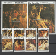 Gambia 1989 Paintings Rubens, Easter Set Of 8 + 2 S/s MNH