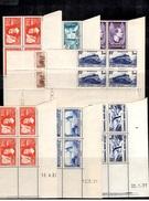 France YT N° 311, 334, 336, 338, 340 Et 341/342 En Blocs De 4 Coins Datés Neufs **/*. B/TB. A Saisir!