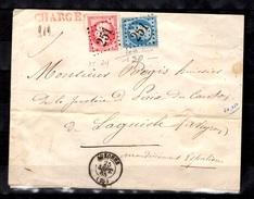 YT N° 22 Et N° 24 Oblitérés Sur Belle Lettre Chargée De 1865. B/TB. A Saisir!