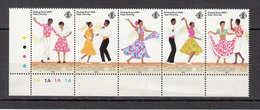 1990 Seychelles Festival Creol Dancing Costumes  Complete Strip Of 5   MNH