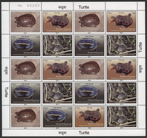 NEPAL, MINISHEET TURTLES FROM 2009, MNH - Népal