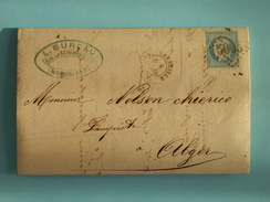 CERES DENTELE 60 SUR LETTRE DE MARSEILLE A ALGER (ALGERIE) DU 8 MARS 1873 (GROS CHIFFRE 5005) - Postmark Collection (Covers)