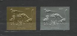GUYANA  1993  Prehistorics, Dinosaurs  2v. Golden And Silver Foil  Perf.