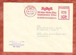Brief, Absenderfreistempel, VEB Robur-Werke Zittau, 20 Pfg, Erfurt 1982 (38143) - DDR