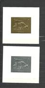 GUYANA  1993  Prehistorics, Dinosaurs  2 Deluxe Sheets  Golden And Silver Foil On Cardboard Rare!