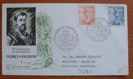 Cover  - Envelope - Sobre Conmemorativo IV Centenario De Pedro De Valdivia 1953 - FDC