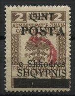 "ALBANIA, OVERPRINT """"COMET"""" 2 QUINT 1919, NH - Albanie"