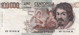 """Banconota Rep.Italiana.da 100.000 Lire_1°Tipo Decreto Min.1 Sett.1983_Caravaggio_Serie BB 161828 W -"""" 2 SCANSIONI- - Italia"""