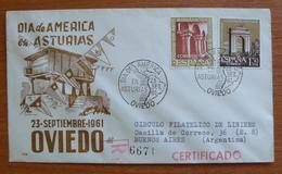 Cover  - Envelope - Sobre Conmemorativo Día De Las Américas En Asturias - 23 Setiembre 1961 - FDC
