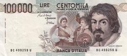 """Banconota Rep.Italiana.da 100.000 Lire_1°Tipo Decreto Min.1 Sett.1983_Caravaggio_Serie BC 499259 U -"""" 2 SCANSIONI- - Italia"""