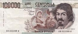 """Banconota Rep.Italiana.da 100.000 Lire_1°Tipo Decreto Min.1 Sett.1983_Caravaggio_Serie CD 323399 U -"""" 2 SCANSIONI- - Altri"""