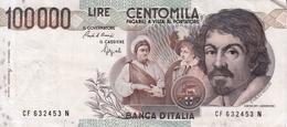"""Banconota Rep.Italiana.da 100.000 Lire_1°Tipo Decreto Min.1 Sett.1983_Caravaggio_Serie CF 632453 N -"""" 2 SCANSIONI- - Italia"""