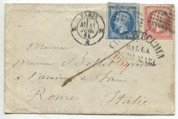 N°14 +17 + Losange K +  CIVITAVECCHIA Dalla  Via Di Mare/ Lettre De Paris Pour Rome (Italie), M. Bellet Graveur - 1853-1860 Napoleon III