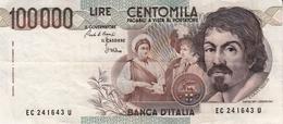 """Banconota Rep.Italiana.da 100.000 Lire_1°Tipo Decreto Min.1 Sett.1983_Caravaggio_Serie EC 241643 U -"""" 2 SCANSIONI- - Altri"""