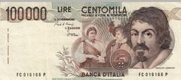"""Banconota Rep.Italiana.da 100.000 Lire_1°Tipo Decreto Min.1 Sett.1983_Caravaggio_Serie FC 016166 P -"""" 2 SCANSIONI- - Altri"""