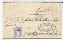 ESPAÑA ENVUELTA DE 1872 DE SEVILLA A ORTIGOSA DE CAMEROS LA RIOJA - Cartas