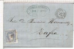 ESPAÑA ENVUELTA DE 1871 DE DON BENITO BADAJOZ A ZAFRA MAT PASO POR MERIDA - Cartas