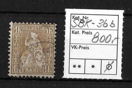 SITZENDE HELVETIA Gezähnt → SBK-36b   ►einwandfrei Gezähnt◄ - 1862-1881 Sitzende Helvetia (gezähnt)