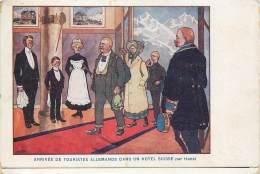 Fantaisie - Illustrateur HANSI - Arrivée De Touristes Allemands Dans Un Hôtel Suisse - Hansi