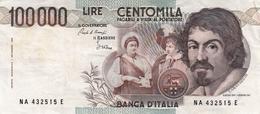"""Banconota Rep.Italiana.da 100.000 Lire_1°Tipo Decreto Min.1 Sett.1983_Caravaggio_Serie NA 432515 E -"""" 2 SCANSIONI- - Italia"""