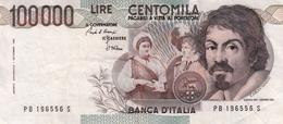 """Banconota Rep.Italiana.da 100.000 Lire_1°Tipo Decreto Min.1 Sett.1983_Caravaggio_Serie PB 196556 S -"""" 2 SCANSIONI- - Italia"""