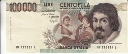 """Banconota Rep.Italiana.da 100.000 Lire_1°Tipo Decreto Min.1 Sett.1983_Caravaggio_Serie RF 323221 L -"""" 2 SCANSIONI- - Italia"""