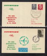 A 29 ) 2 Schöne Belege INTERFLUG 1969  Berlin - Sofia - Berlin