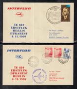 A 29 ) 2 Schöne Belege INTERFLUG 1969  Berlin - Bukarest - Berlin