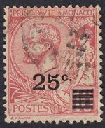 MONACO - 1922 - Yvert 52 Usato; 25 Centesimi Sovrastampato Su 10 Cent., Rosa. - Monaco