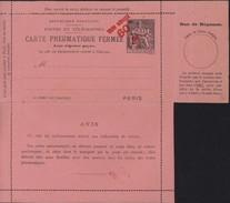 Entier Carte Pneumatique Fermée Avec Réponse Payée 1F Noir Sur Rose Recto République Française Verso 5 Lignes Sous Avis