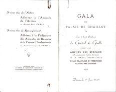 PROGRAMME AU PALAIS DE CHAILLOT PARIS  SOUS HAUTE PRESIDENCE DU  GENERAL DE GAULLE 1/06/1945 + CARTE VALABLE 1 PERSONNE - Programma's