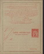 Entier Carte Pneumatique Chaplain 6F Rouge Orange Texte Décalé Dans Pointillé En Bas Storch VI Cote 30 Euros Neuf