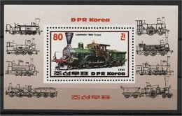 NORTH KOREA, LOCOMOTIVES SOUVENIR SHEET 1983 MNH