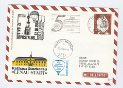 1984 BALLOON FLIGHT COVER  By HOHE BRUCKE LOTTERY BALLOON,  Austria United Nations  Ballooning - Transport