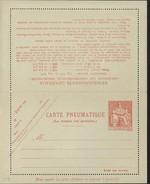 Entier Carte Lettre Pneumatique Chaplain 1.25F Orange Nouveaux Francs Piquage 11 Storch P318 V8 Cote 30 Euros