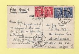 Marianne De Gandon - Destination Afrique Du Sud - 13-10-1951 - Postmark Collection (Covers)