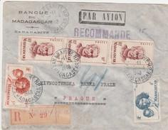 Madagascar Lettre Recommandée Pour La Tchécoslovaquie 1948 - Madagascar (1889-1960)