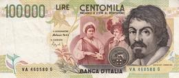 """Banconota Rep.Italiana.da 100.000 Lire_II°Tipo Decreto Min.6 Maggio1994_Caravaggio_Serie VA 460580 G -"""" 2 SCANSIONI- - Altri"""