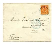 !!! 10 C MOUCHON SUR LETTRE CACHET DJIBOUTI - COTE FRANCAISE DES SOMALIS DE 1901 CACHET MARTIME AU DOS - Lettres & Documents