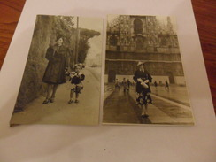 2 FOTO   SIGNORA  CON  CAPPELLINO  1936 - Personnes Anonymes