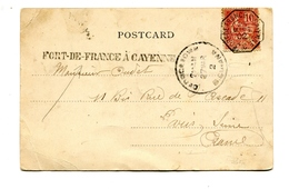 !!! CPA DE GUYANE BRITANIQUE AFFRANCH 10C MOUCHON MARQUE LINEAIRE ET CACHET MARITIME FORT DE FRANCE A CAYENNE 1902 - Posta Marittima