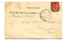 !!! CPA DE GUYANE BRITANIQUE AFFRANCH 10C MOUCHON MARQUE LINEAIRE ET CACHET MARITIME FORT DE FRANCE A CAYENNE 1902 - Marcophilie (Lettres)