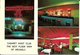 """Bruxelles (1000) : Le Cabaret Moulin Rouge, 18 Place De Brouckère - """"The Best Floor Show Of Brussels"""". CPSM Rare. - Brussel Bij Nacht"""