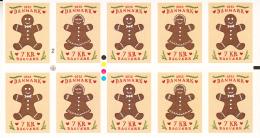 Denmark MNH 2015 Pane Of 10 Gingerbread Man, Woman - Christmas Cookies - Neufs