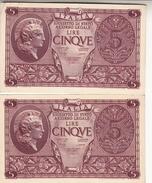 """Banconote Da 5 Lire Lotto Di 2 Biglietti_ N°674 Serie 527392/3-"""" 2 SCANSIONI- - Italia"""